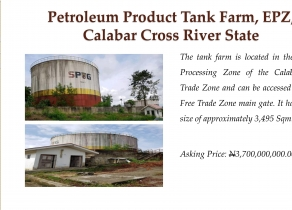 TANK FARM STORAGE AVAILABLE FOR SALE, EPZ, CALABAR CROSS RIVER STATE